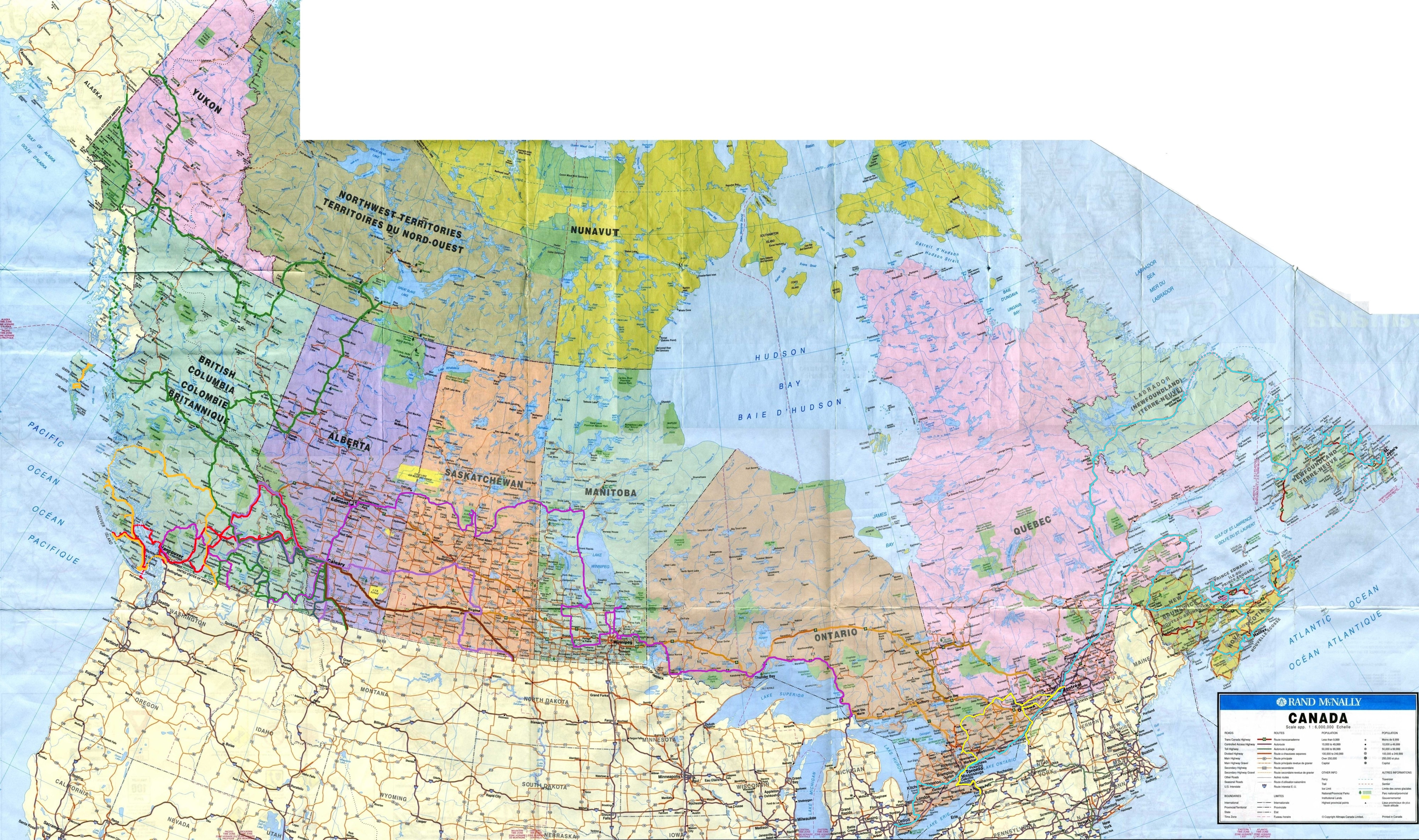 route map of our travels in canada