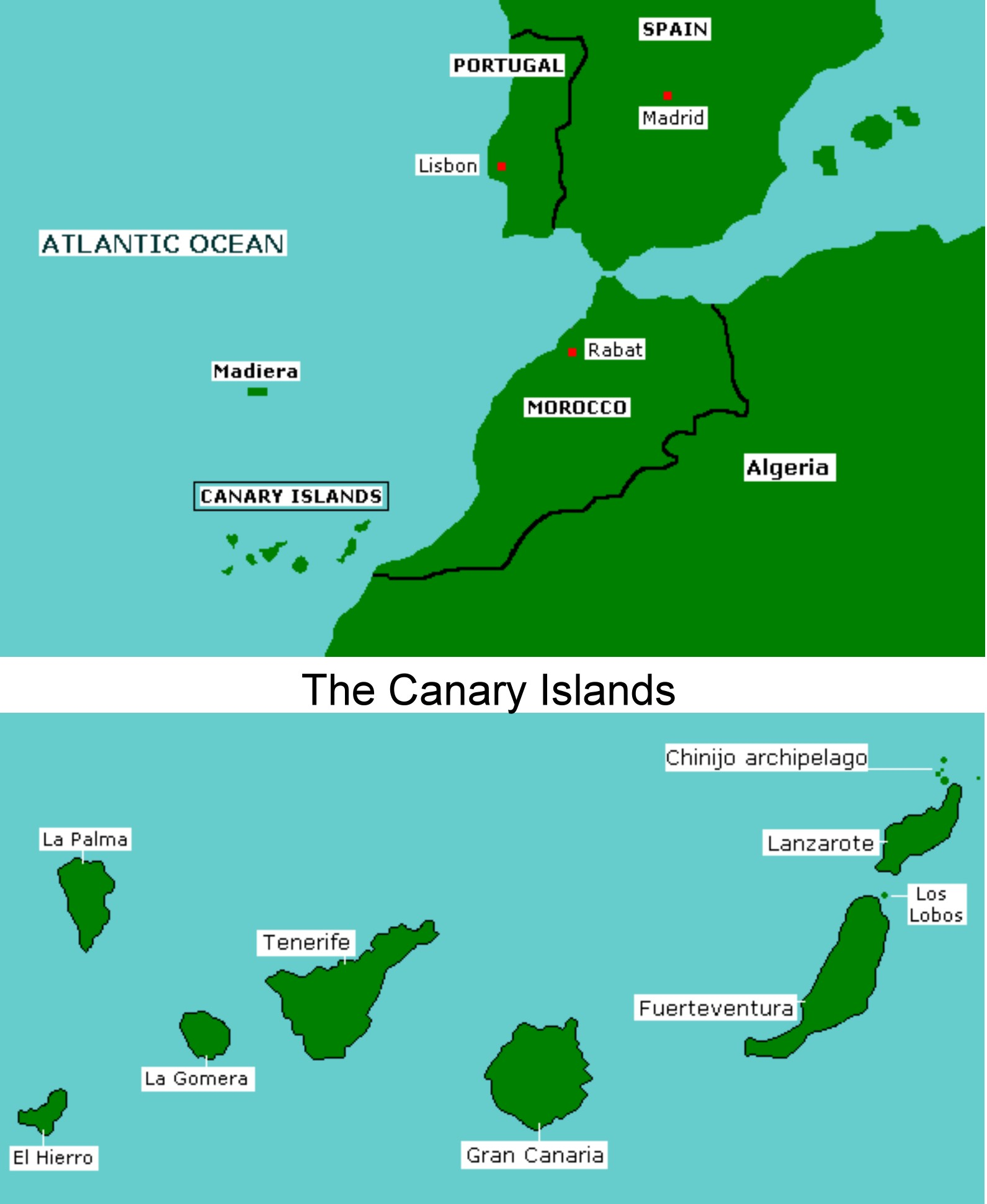Map Of Canary Islands And Africa.Canary Islands