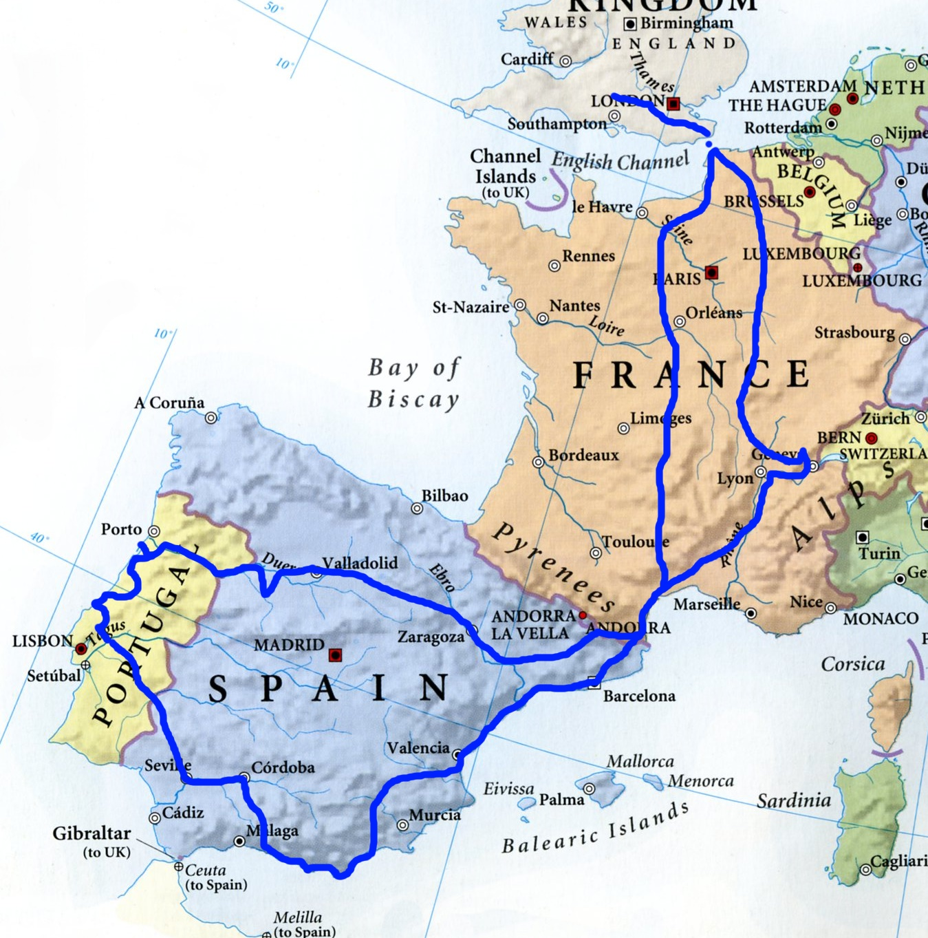 to spain spain france home overall route map